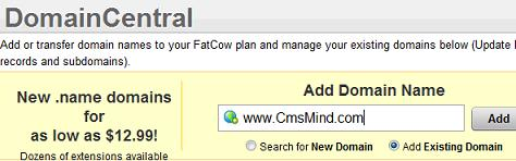 Fatcow Help - Add Existing Domain Name