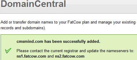 Fatcow webhosting - New Namesevers