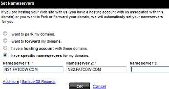 Fatcow Webhosting - Godaddy Set Nameservers