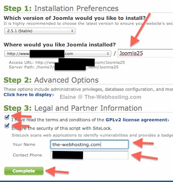 Bluehost - Joomla 2.5 Installation Preferences