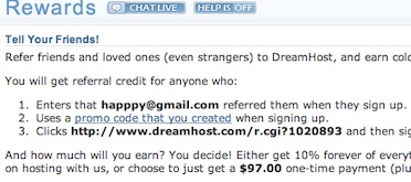 Dreamhost Affiliate Rewards Details