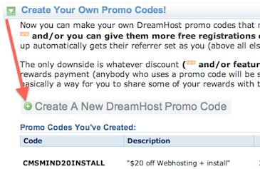 Dreamhost affiliate rewards - create promo codes