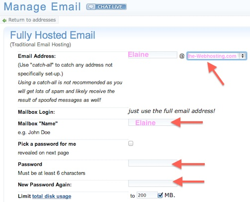 Dreamhost Tutorial - Enter in New Email Address Details