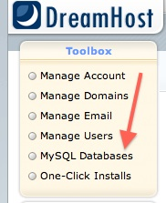 Dreamhost tutorial - Click on MySQL Databases