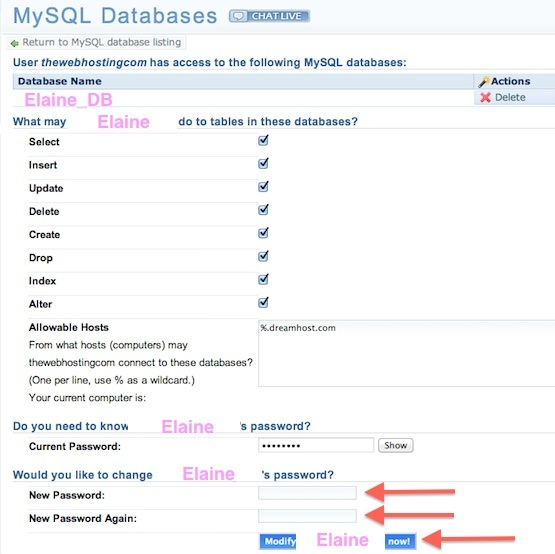 Dreamhost Tutorial - How to Change your MySQL phpMyAdmin password